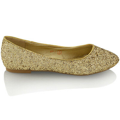 NEU Damen flache Glitzer Ball Braut Brautjungfer Dolly Pumps Schuhe 3-9