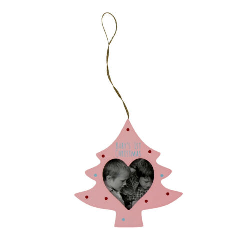 Wooden Christmas Tree Photo Hanging Decoration Baby/'s 1st Christmas Pink Blue
