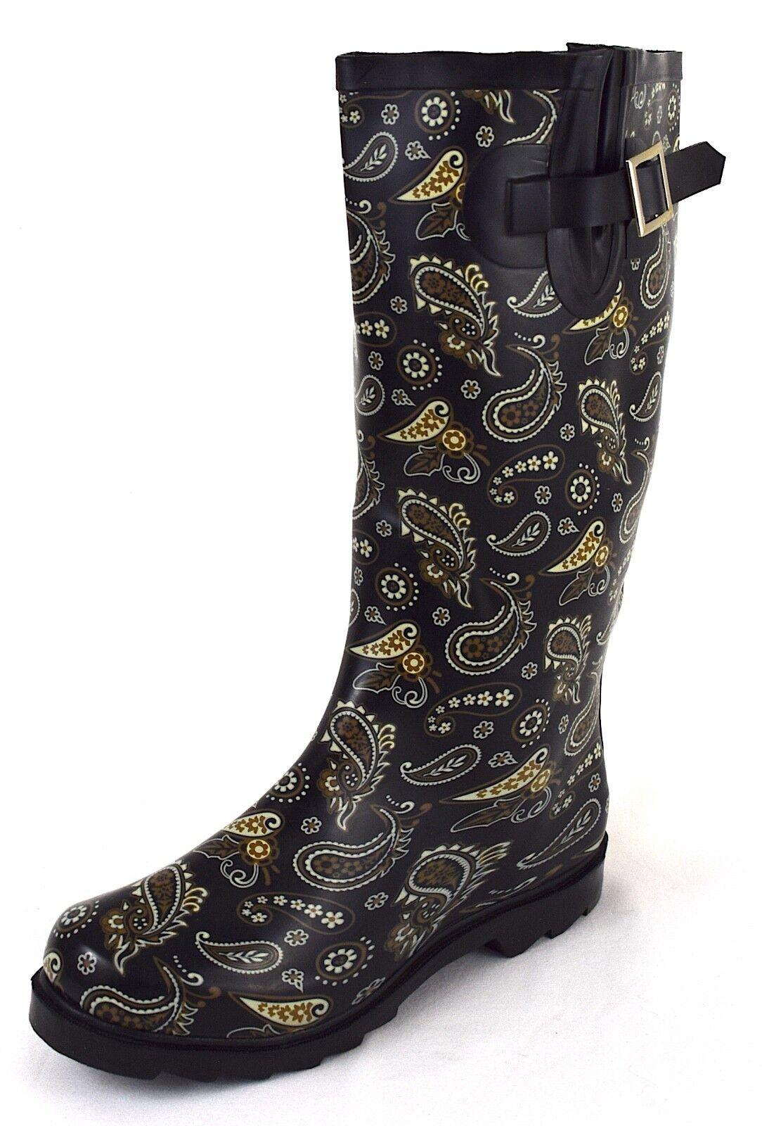 Damen Gummistiefel Regenstiefel Schwarz mit Muster Gr. 36, 41, 42, 43