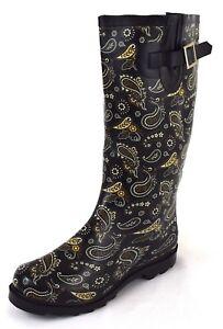 Damen Gummistiefel Regenstiefel Schwarz mit Muster Gr. 36 41 42 43