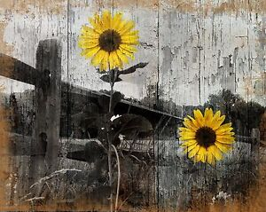 Rustic Sunflower Country Farmhouse Home Decor Wall Art