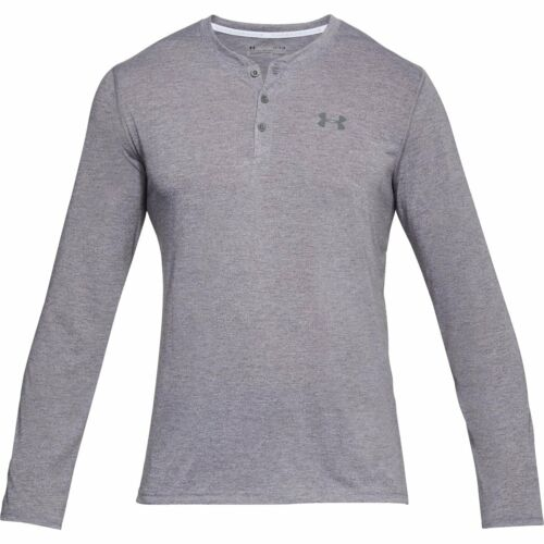 Men/'s Under Armour Threadborne Henley Long Sleeve Shirt White//Zinc Grey