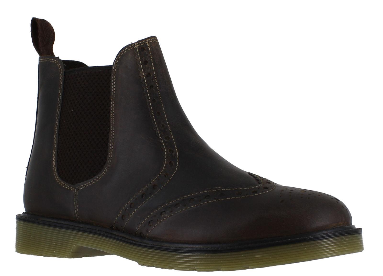 MEN'S OAKTRAK Brown Leather Belper Chelsea Pull on ankle boots Brown OAKTRAK UK size 9 0ce1f0