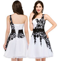 NEW Applique Chiffon Dress Short Bridesmaid/Wedding Evening Party Prom Ball Gown