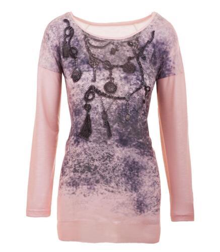 Rose femmes tunique Imprimé Aprico pour longues Strass Coton manches Longues Manches à Chemise Rose 1aWC8nq6w