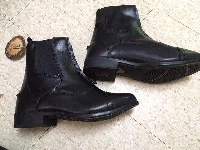 LADIES Zip Front Jodhpur Stiefel schwarz NEW Größe 11 M LEATHER JUSTIN Stiefel Co