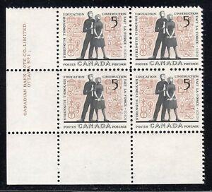 1962 Canada SC# 396 LL Education Plate No.1 Plate Block M-NH Lot# 1537