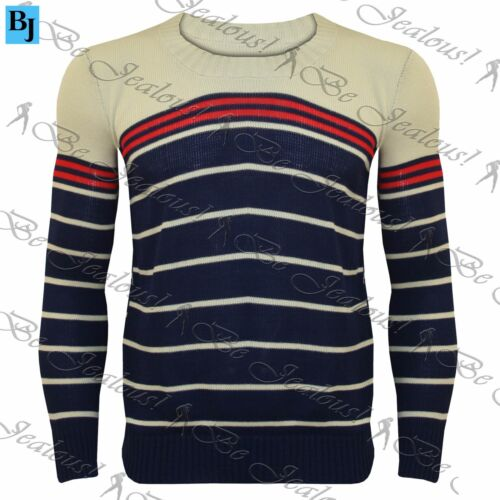 Mens New Striped Crew Neck Casual Knitwear Knitted Pullover Sweater Jumper Top