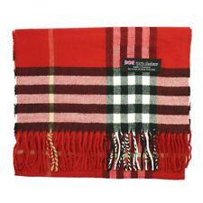 100 Cashmere Scarf Made in Scotland Big Plaid Color Red Super Soft