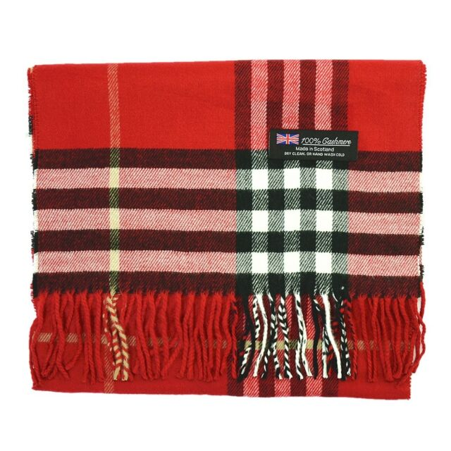 4dd7e2c22 Womens 100% CASHMERE Scarf vintage MADE IN SCOTLAND Red Big Plaid Super Soft