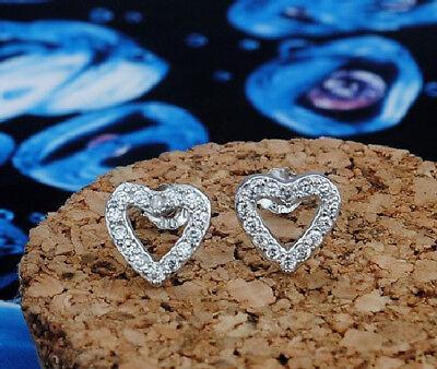 Ohrstecker Ohrring Herzchen Herz Sterling Silber 925 Mit Weißen Zirkonia Und Verdauung Hilft