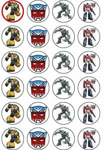 Image Is Loading 24 X TRANSFORMERS RICE PAPER BIRTHDAY CAKE TOPPERS