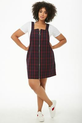 Forever 21 Navy Red Plus Size Plaid Pinafore Mini Dress 3X | eBay