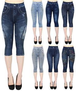 05f1cba61fa5 Damen Capri 3 4 Leggings in Jeans Optik Kurze Jeggings Capri Leggins ...