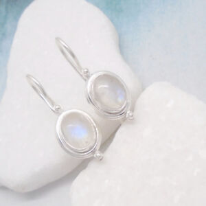Mondstein-blau-weiss-oval-Design-Ohrringe-Ohrhaenger-925-Sterling-Silber-neu