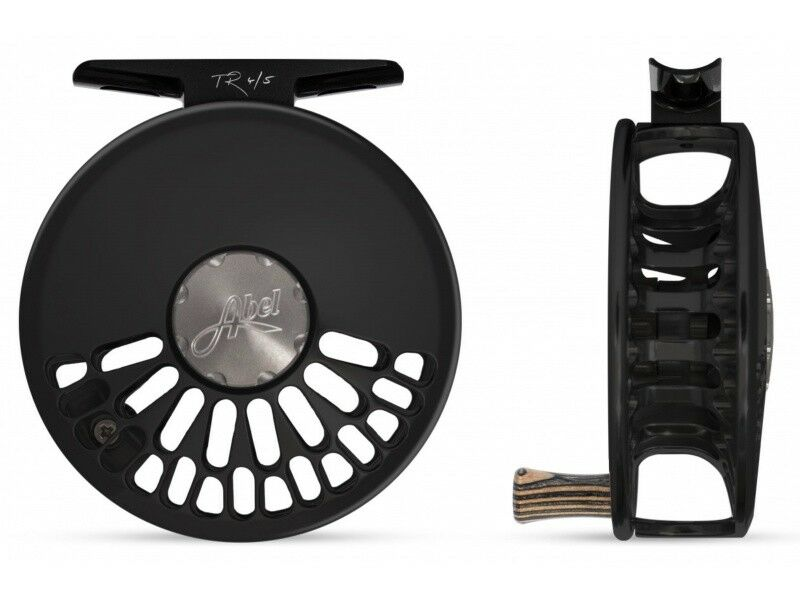 NEW ABEL TR 4/5 CLICK DRAG #4/5 WEIGHT FLY REEL IN BLACK WITH ZEBRA WOOD HANDLE