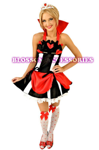 E13 Queen of Hearts Alice In Wonderland Ladies Dress Costume Outfit Tiara