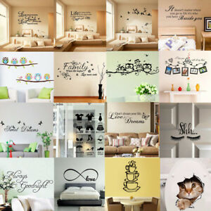Quote-Wall-Decal-Stickers-Vinyl-Art-Mural-Home-Bedroom-Room-Decor-Removable-DIY