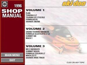 1996 Ski Doo Skandic Wide Track Mach Z Lt Mx Z 440 583 670 Shop Manual 96 Cd Ebay