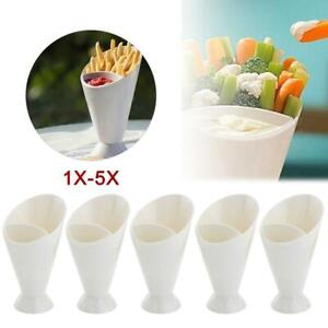 Snack-Cone-Stand-Dip-Holder-Fries-Chips-Finger-Food-Sauce-Vegetable-Storage-XI