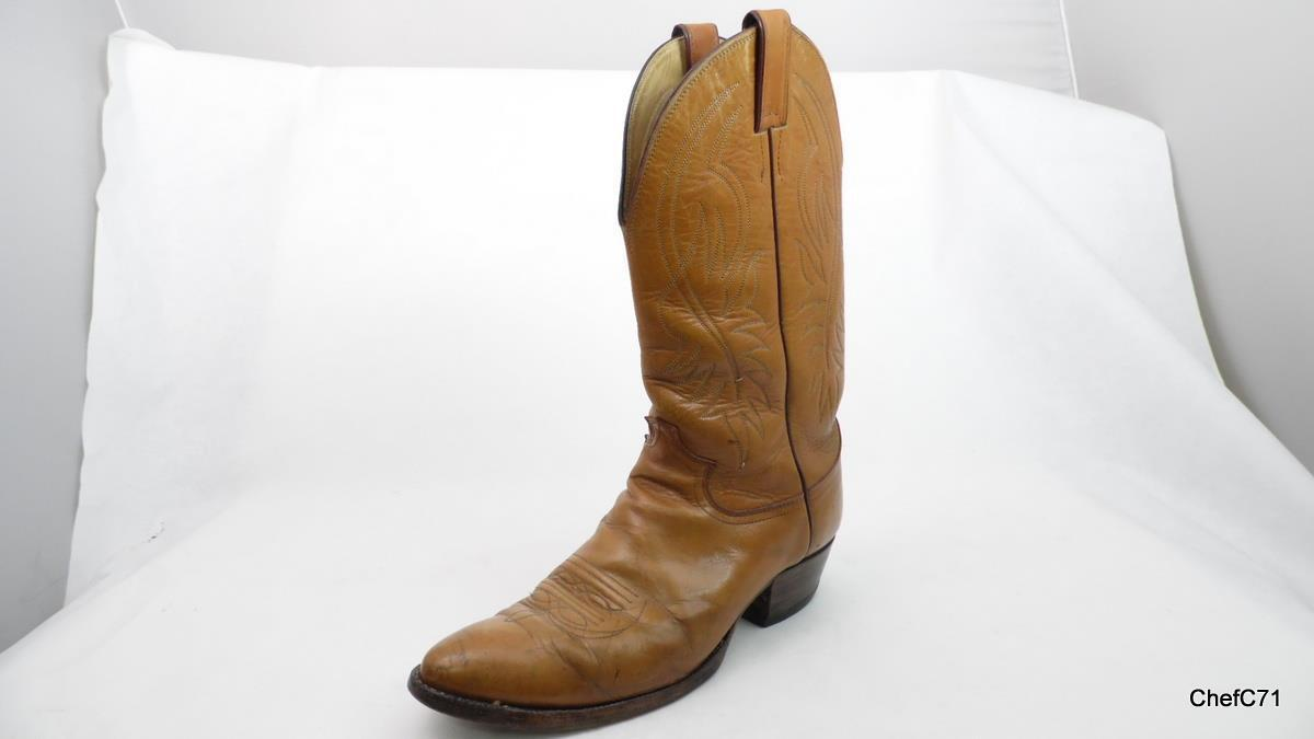 VINTAGE JUSTIN TAN LEATHER WELL USED COWBOY WESTERN BOOTS US 9 E WIDE MENS BROWN