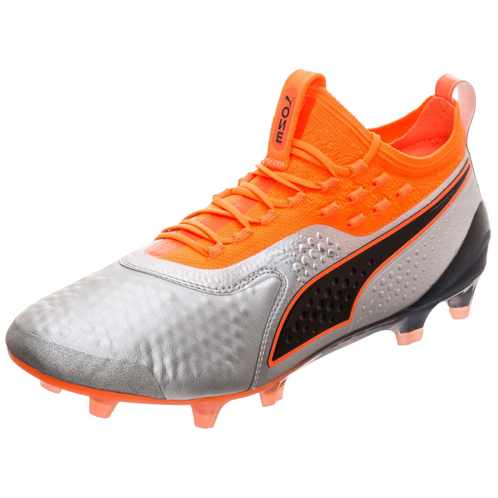 Puma Puma ONE 1 Lth FG AG Fußballschuh Fußballschuh Fußballschuh Herren silber   neon Orange NEU dba376