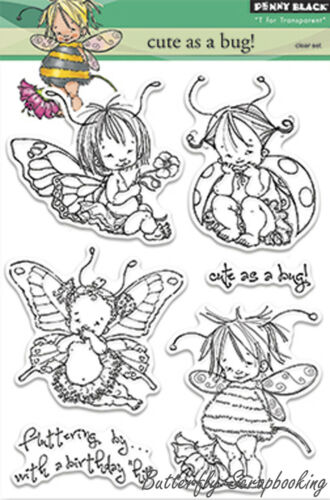 Cute As Bug Stamp Set, Clear Unmounted Rubber Stamp Set PENNY BLACK NEW, 30220