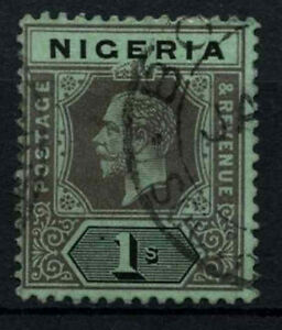 Nigeria-1914-29-SG-8c-1s-Black-Blue-Green-Blue-Green-Back-Used-D32563