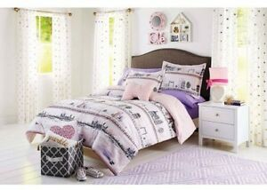 twin twin xl comforter teen girls bedding 4pc set paris france pink purple theme ebay. Black Bedroom Furniture Sets. Home Design Ideas