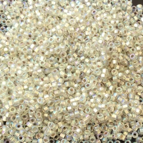 15//0 Japanese seed beads Lined LT Cream AB Glass Seed Beads-15Grams
