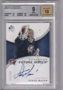 08-09-UD-SP-AUTHENTIC-STEVE-MASON-RC-ROOKIE-AUTO-999-BGS-9-MINT-209