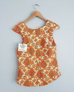 Angel-biba-womens-vibrant-orange-peplum-epaullet-high-back-amp-neck-top-Size-8