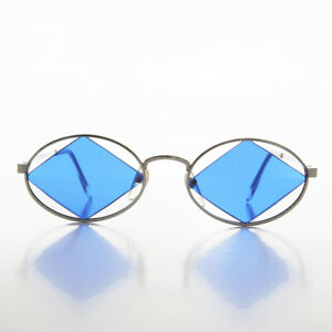 Diamond-Floating-Lens-Oval-Vintage-Sunglass-Silver-Blue-Rashid