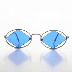 Diamond Floating Lens Oval Vintage Sunglass Silver / Blue - Rashid