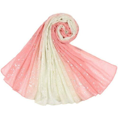 Womens Cotton Linen Gradient Scarf Silver Foil Sequins Bandana Shawl Headscarf