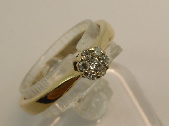 9ct Solid Yellow gold & 7 Diamonds Dress Flower Cluster Ring size L½