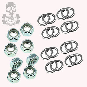 Roller-Skate-Axle-Nuts-amp-Speed-Washers-Set-of-8-nuts-16-washers-FP