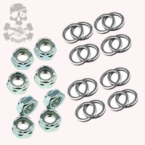 FP Roller Skate Axle Nuts /& Speed Washers 16 washers Set of 8 nuts