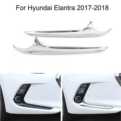 Chrome Car Front Fog Light Lamp Frame Cover Trim For Hyundai Elantra 2017-2018