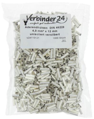 12mm Aderendhülsen Wahl versilbert Beutel á 1000 St 4 mm² unisoliert 2