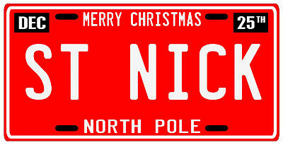 Santa Claus Saint Nick Merry Christmas Ornament North Pole License Plate