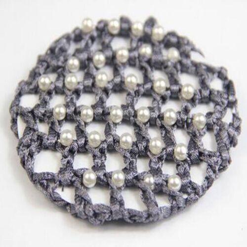 Ballet Dance Skating Crochet Hair Net Snood Pearl Mesh Bun Cover White Pearl