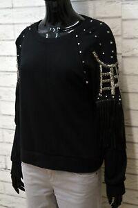 Maglia-Maglione-Nero-Felpa-M-Frange-Donna-MonteCervino-Pullover-Sweater-Women