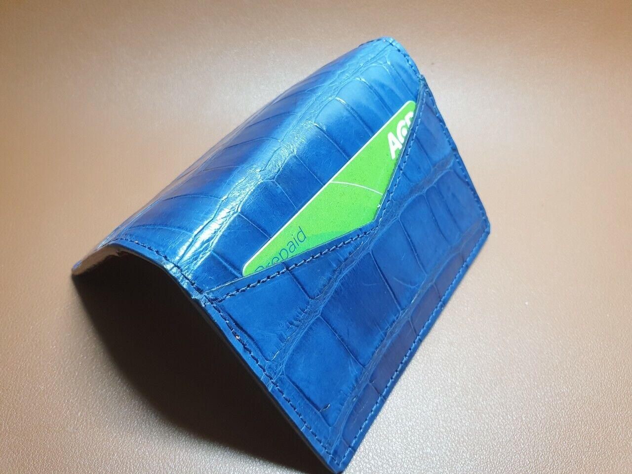Navy Blue doubleside Crocodile Skin Credit Card Holder