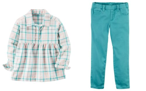 Carter/'s Toddler Girls Plaid Babydoll Top and Pull-On Skinny Pants NWT outfit