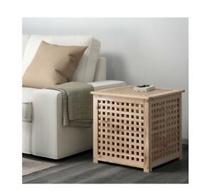 ikea hol wooden storage box side table modern toy box acacia 50x50 ebay. Black Bedroom Furniture Sets. Home Design Ideas