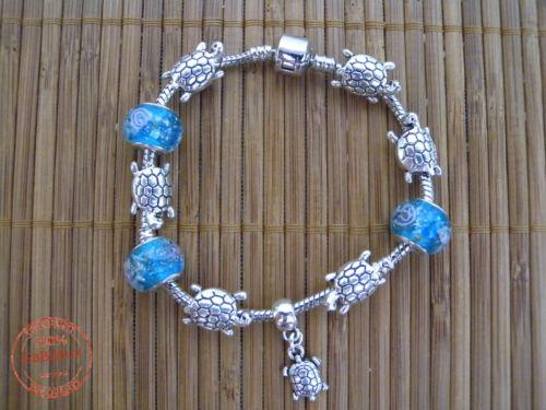 Braccialetto con Charms Perline TARTARUGHE Perle Foro Largo Stile Moderno DONNA