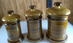 3 Piece Canister Set McCoy Art Pottery Tan Brown USA Storage Containers 206 S