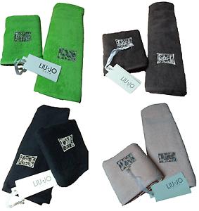 Pair-Face-Towel-Guest-LIU-JO-House-Faded-L-Sponge-100-Cotton-Fabric