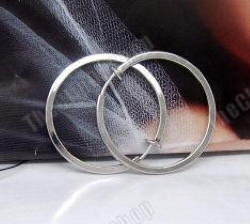 """Clip en 2,5 cm//3,5 cm//5cm Tono Plata Aros grandes pendientes de aro 1 /"""" 2/"""""""